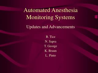 Automated Anesthesia Monitoring Systems