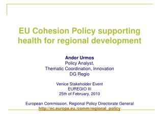 EU Cohesion Policy supporting health for regional development