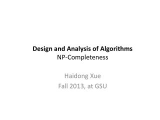 Design and Analysis of Algorithms NP-Completeness