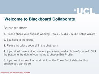 Welcome to Blackboard Collaborate