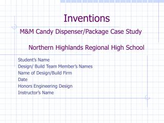 Student's Name Design/ Build Team Member's Names Name of Design/Build Firm Date