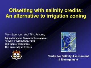 Offsetting with salinity credits:  An alternative to irrigation zoning