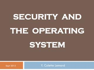 SECURITY  AND THE  OPERATING SYSTEM
