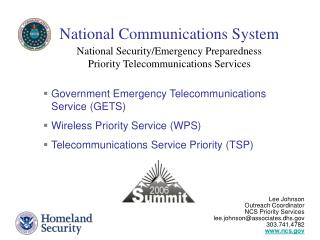 National Security/Emergency Preparedness  Priority Telecommunications Services