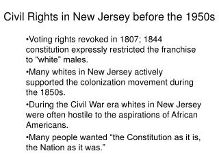 Civil Rights in New Jersey before the 1950s