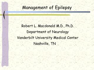 Management of Epilepsy