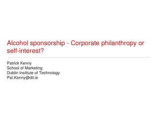Alcohol sponsorship - Corporate philanthropy or self-interest?