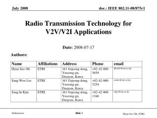 Radio Transmission  Technology for  V2V/V2I Applications