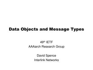 Data Objects and Message Types
