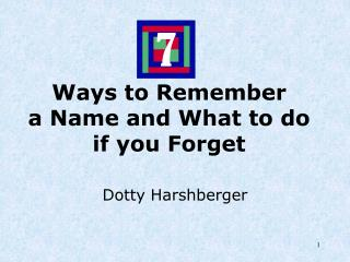 Ways to Remember a Name and What to do if you Forget
