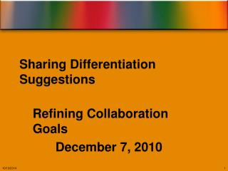 Sharing Differentiation Suggestions