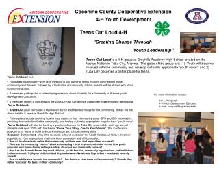 Coconino County Cooperative Extension   4-H Youth Development