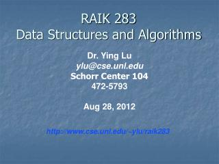 RAIK 283 Data Structures and Algorithms