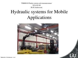 Hydraulic systems for Mobile Applications
