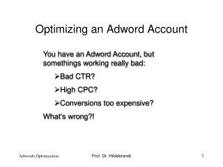 Optimizing an Adword Account