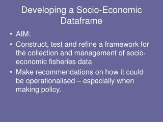 Developing a Socio-Economic Dataframe