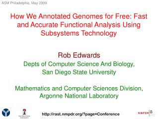 Rob Edwards Depts of Computer Science And Biology,  San Diego State University