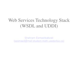 Web Services Technology Stack (WSDL and UDDI)