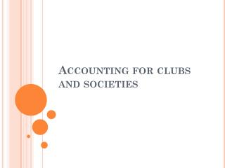 Accounting for clubs and societies