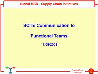 Global MSD - Supply Chain Initiatives