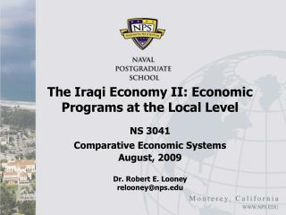 The Iraqi Economy II: Economic Programs at the Local Level