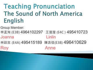 Teaching Pronunciation The Sound of North America English