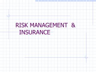 RISK MANAGEMENT  &       INSURANCE