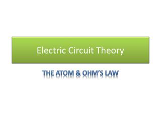 Electric Circuit Theory
