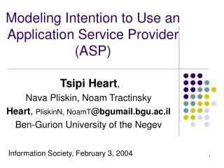 Modeling Intention to Use an Application Service Provider (ASP)