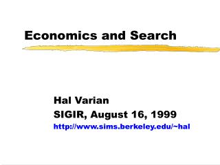 Economics and Search