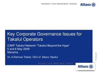 Key Corporate Governance Issues for Takaful Operators