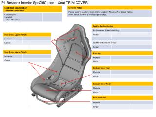 P1 Bespoke Interior  SpeCifiCation  – Seat TRIM COVER