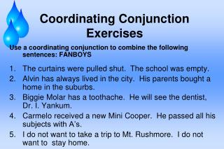 Coordinating Conjunction Exercises