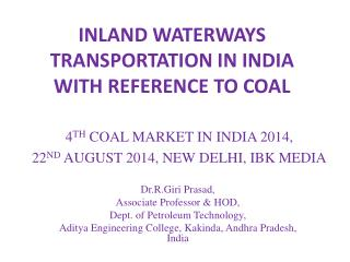 INLAND WATERWAYS TRANSPORTATION IN INDIA WITH REFERENCE TO COAL