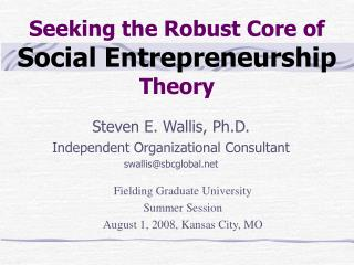 Seeking the Robust Core of  Social Entrepreneurship  Theory