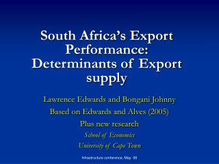 South Africa's Export Performance:  Determinants of Export supply