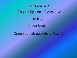 Lab Exercise 2 Organ System Overview using… Torso Models
