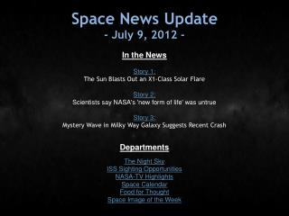 Space News Update - July 9, 2012 -