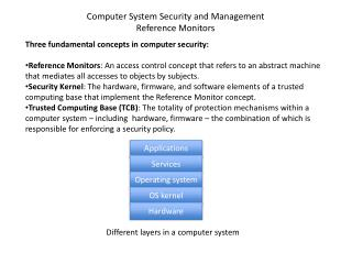 Three fundamental concepts in computer security: