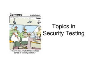 Topics in  Security Testing