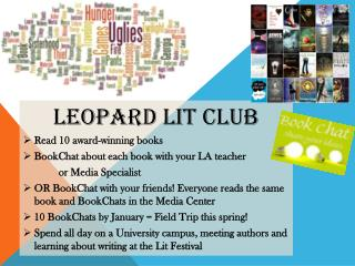 Leopard Lit Club Read 10 award-winning books BookChat  about each book with your LA teacher