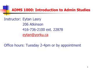 ADMS 1000: Introduction to Admin Studies