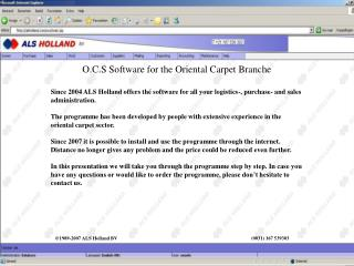 O.C.S Software for the Oriental Carpet Branche