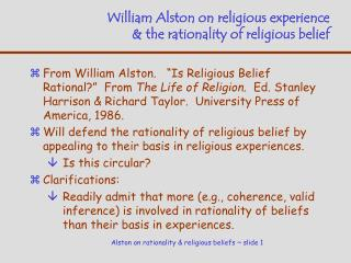 William Alston on religious experience & the rationality of religious belief