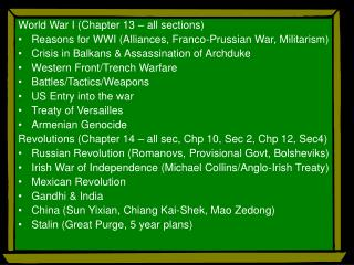 World War I (Chapter 13 – all sections)