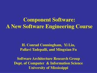 Component Software: A New Software Engineering Course