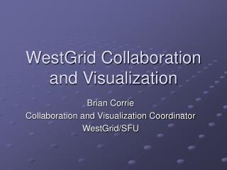 WestGrid Collaboration and Visualization