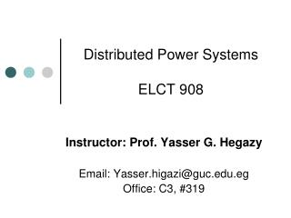 Distributed Power Systems ELCT 908