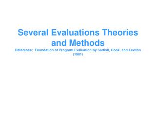 Components of good evaluation theory