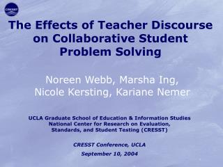 The Effects of Teacher Discourse on Collaborative Student Problem Solving